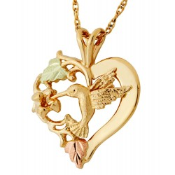 Landstrom's® 10K Black Hills Gold Hummingbird Flower and Heart Pendant