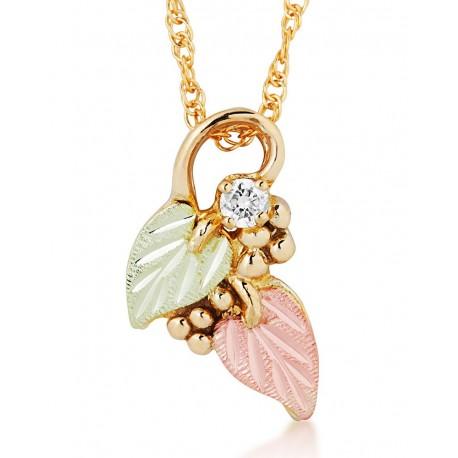 Landstrom's® 10K Black Hills Gold Leaf Pendant with Diamond