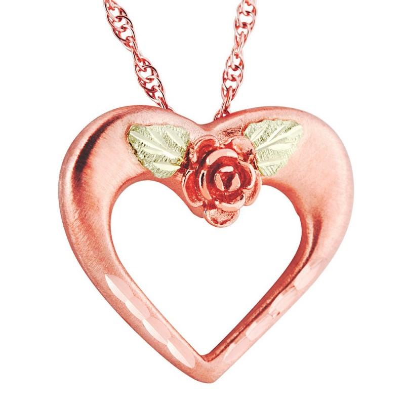 Landstrom S 174 10k Rose Gold Black Hills Heart Pendant