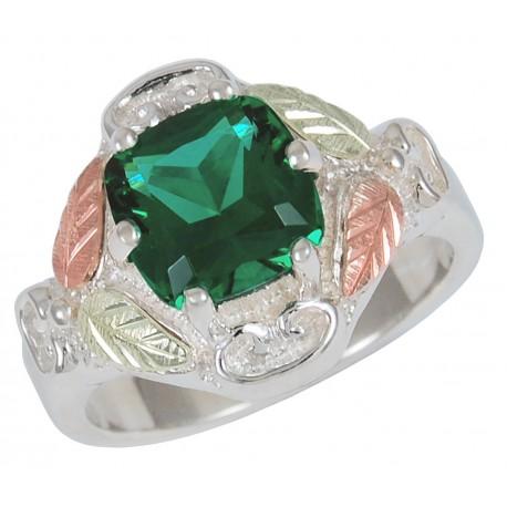 Black Hills Gold On Sterling Silver Helenite Ring W/ Emerald Mt St Helens Obsidianite