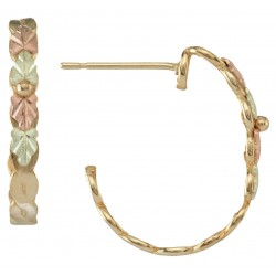 Tri-tone 10k Black Hills Gold Hoop Earrings