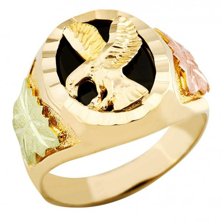 Landstroms Mens Black Hills Gold 10K Eagle Ring with Onyx