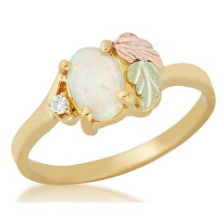 Black Hills Gold Lab Opal and Diamond Ring for Ladies