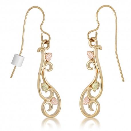 Landstrom's® 10K Black Hills Gold Earrings with 12K Gold Leaves
