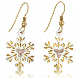 Landstrom's® Black Hills Gold on White Powder Coated Snowflake Earrings
