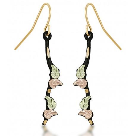 Landstrom's® Black Hills Gold on Black Powder Coated Shepherd Hook Earrings