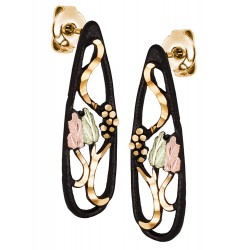 Landstrom's® Black Hills Gold on Black Powder Coated Teardrop Earrings