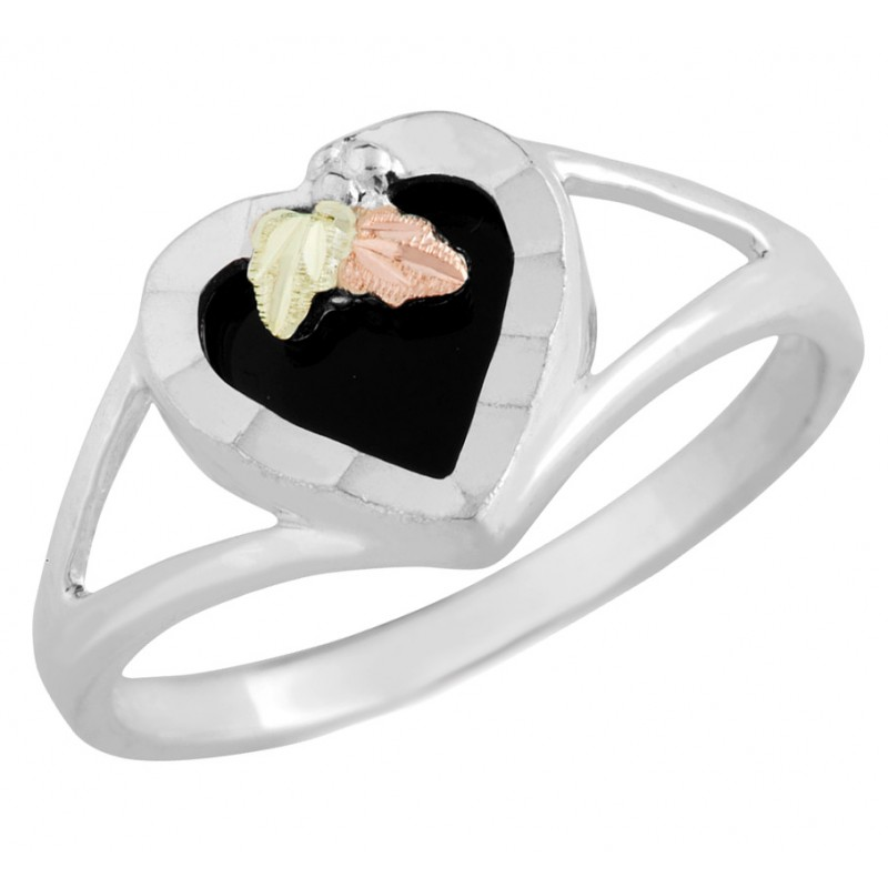 Landstromu0027s Black Hills Gold On Sterling Silver   Black Onyx Heart Ring ...