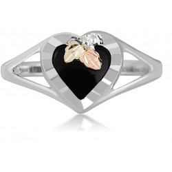 Landstrom's Black Hills Gold on Sterling Silver - Black Onyx Heart Ring