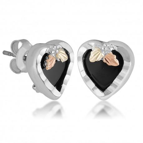 Landstrom's® Black Hills Gold on Silver Heart Earrings w/Onyx