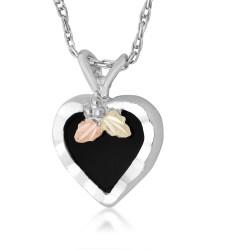 Landstrom's® Black Hills Gold on Silver - Black Onyx Heart Pendant Necklace