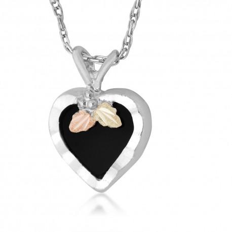 Landstrom's Black Hills Gold on Silver - Black Onyx Heart Pendant Necklace