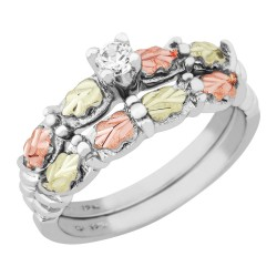 Tri-color Black Hills Gold on Silver Wedding Set w/ CZ