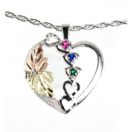 Choose up to 6 Family Birthstones - Black Hills Gold on Sterling Silver Heart Pendant