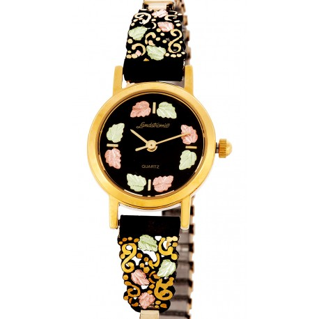 Landstrom's® Black Hills Gold Women's Black Powder Coated Watch with 12K Gold Leaves