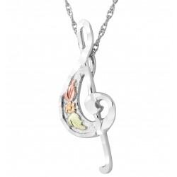 Landstrom's® Black Hills Gold on Sterling Silver Treble Clef Musical Note Pendant