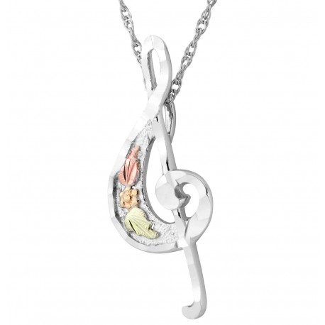 Landstrom's® Black Hills Gold on Sterling Silver Treble Clef Musical Note Pendant