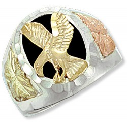 Landstrom's® Black Hills Gold on Sterling Silver Onyx Eagle Mens Ring