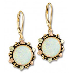 Landstrom's® 10K Black Hills Gold Opal Earrings with 14K Leverback