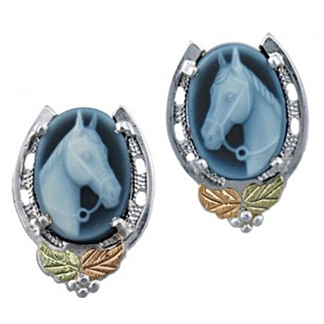 Landstrom's® Black Hills Gold Sterling Silver Horseshoe with Horse Cameo Earrings