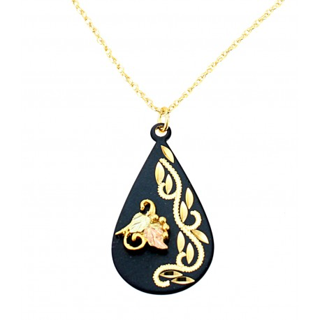 Black Hills Gold on Black Powder Coated  Metal - Teardrop Pendant Necklace
