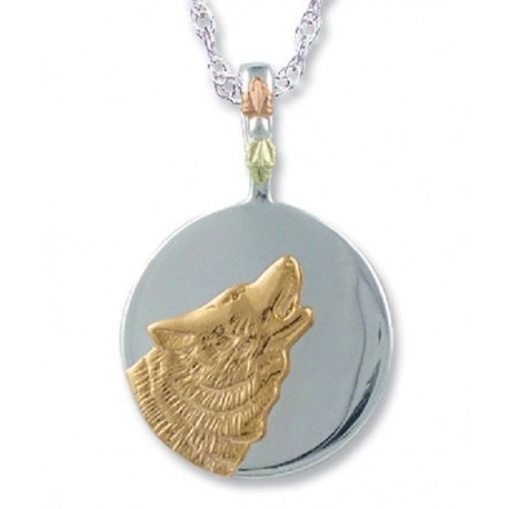 Black Hills Gold Sterling Silver Wolf Moon Pendant