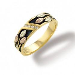 Landstrom's® 10k Black Hills Gold Mens Antiqued Wedding Ring with Diamond