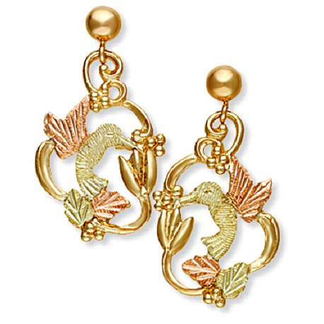 Landstrom S 10k Black Hills Gold Hummingbird Earrings