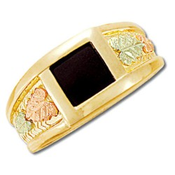 10k Black Hills Gold Mens 8x8mm Onyx Ring