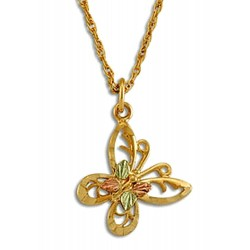 Landstrom's® 10K Black Hills Gold Butterfly Pendant with Leaves