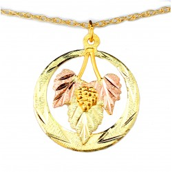 Landstrom's® 10K Black Hills Gold Circle Pendant with Leaves