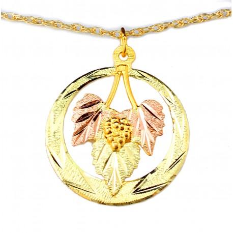 Landstrom's® 10K Black Hills Gold Circle Pendant with Leaves