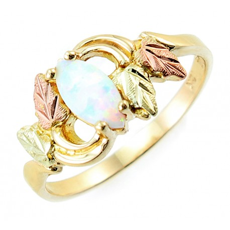 engagement australian media opal unique ring jewelry leaves rose gold