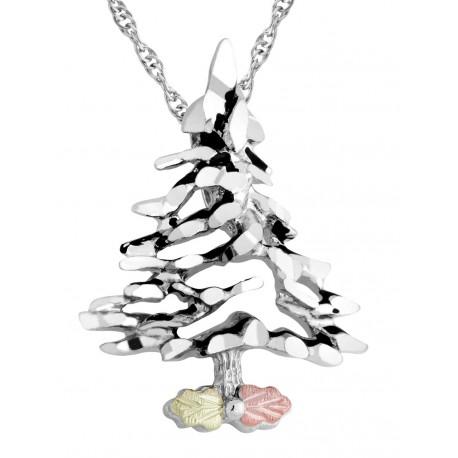 Landstrom's® Black Hills Gold Leaves on Sterling Silver Christmas Tree Pendant