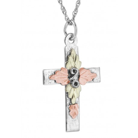 Landstrom's® Black Hills Gold Leaves on Sterling Silver Cross Pendant