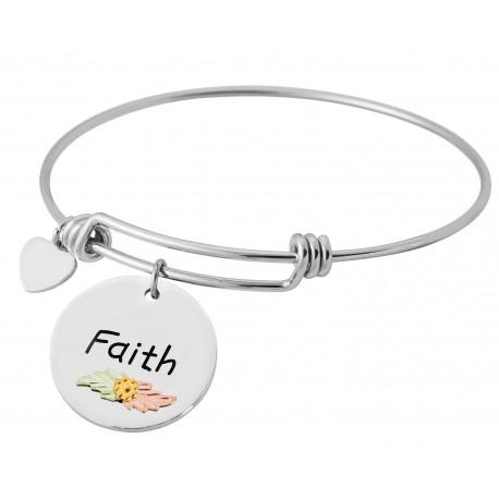 Landstrom's® Black Hills Gold Leaves on Sterling Silver Faith Charm on Wire Bracelet