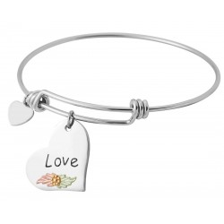 Landstrom's® Black Hills Gold Leaves on Sterling Silver Love Charm on Wire Bracelet