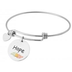 Landstrom's® Black Hills Gold Leaves on Sterling Silver Hope Charm on Wire Bracelet