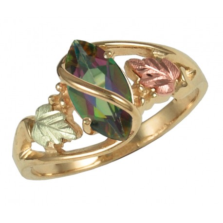 Coleman Black Hills Gold Ring w/ Marquise Shaped Mystic Fire Topaz Gemstone