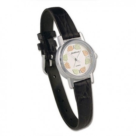 Landstrom's® Women's Silver Watch with Leather Band and 12K Black Hills Gold Leaves