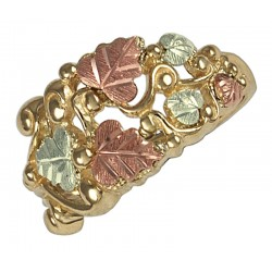 10K Black Hills Gold Grape And Leaf Ring Size 7