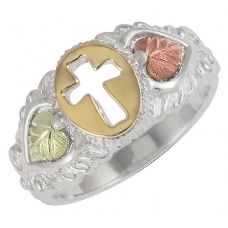 Black Hills Gold Sterling Silver and 10K Gold Cross Ring