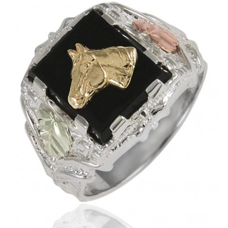 Black Hills Sterling Silver Men's Horse Ring with 12k Gold Leaves