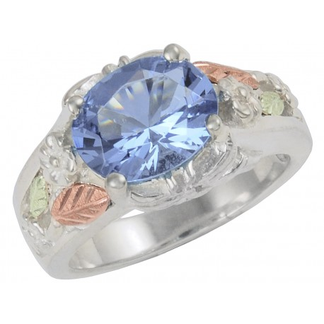 Coleman Black Hills Gold on Sterling Silver Ladies Ring w Indigo Mt. St. Helens Stone