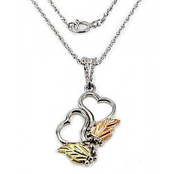 Black Hills Gold on Sterling Silver Double Heart Pendant
