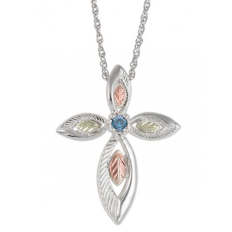 Coleman Black Hills Gold On Sterling Silver Cross Pendant