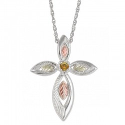 Coleman Black Hills Gold on Sterling Silver Cross Pendant with Citrine Gemstone
