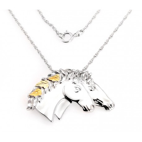 Black Hills Gold on Sterling Silver Horse Pendant By Mt. Rushmore