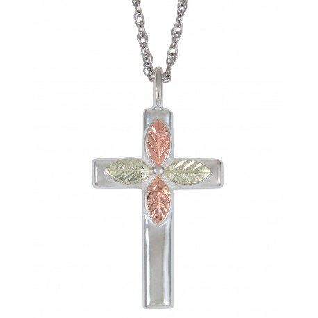 BLACK HILLS GOLD STERLING SILVER LADIES CROSS PENDANT NECKLACE