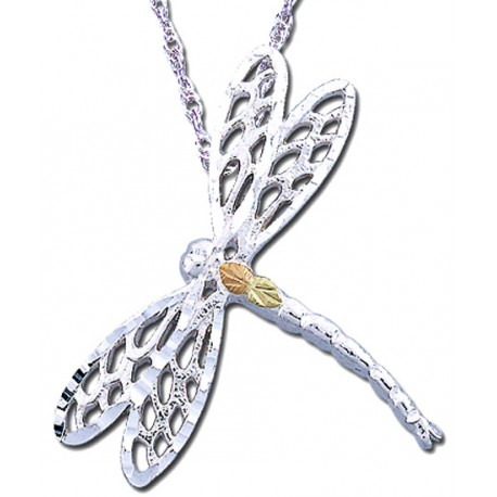 Black Hills Gold Sterling Silver Dragonfly Pendant Necklace